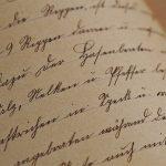 Cuartilla con caligrafia cursiva manual